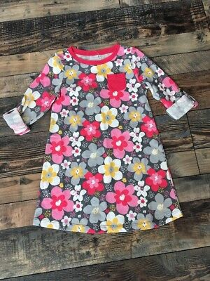 NWT Gymboree Girls Pink Grey Floral Flower Roll Up Sleeve Knit Dress Size 8