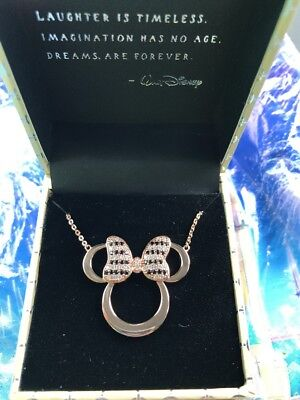 Disney Rebecca Hook Rose Gold Minnie Ears With Bow Necklace NEW IN HAND