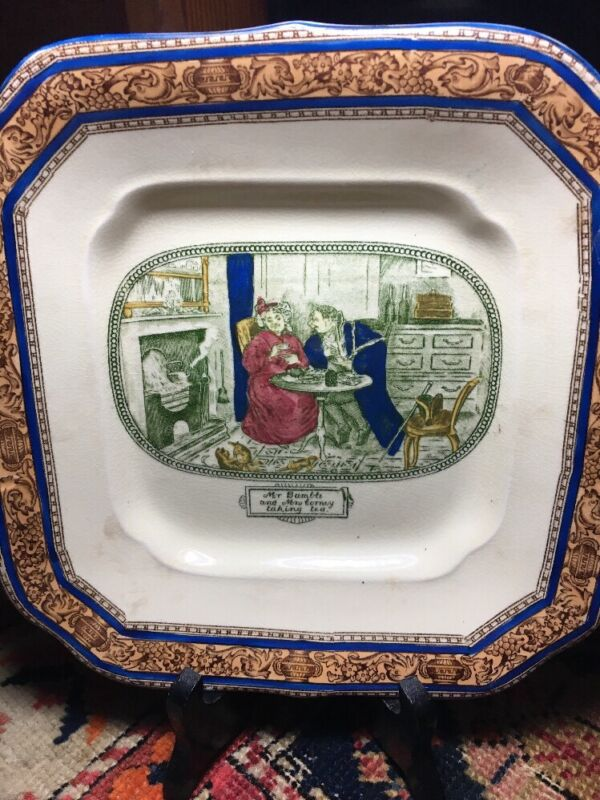 Antique square ironstone dish Dickens Quotes from Oliver Twist Adams England UK