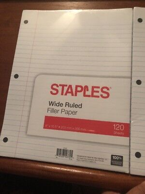 2 Staples Filler Paper Wide Ruled 8 X 10 12 203mm X 266mm 120 Sheets