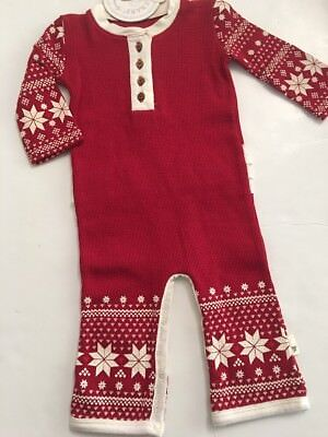 Burts Bees Baby Girl Organic Thermal Coverall Ruffle Size 3 Months Red Snowflake