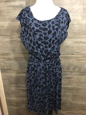 Loft Ann Taylor Small Navy Print Dress Career Casual elastic waist