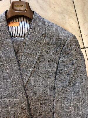 New 54l Mens Suit - NEW INSERCH MENS 100% LINEN MULTI COLOR PLAID 2BT. SUIT LINED  BEACH WEDDING 54L