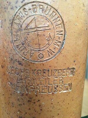 1800's Antique George Kreuzberg Apollinaris Brunnen Brunner Jug Bottle Stoneware