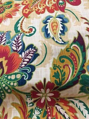 Richloom Drapery Fabric /cotton Duck/linen Look Jacobean Floral , Jewel Tones