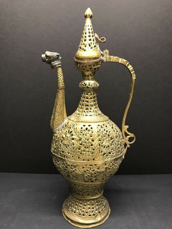 ANTIQUE 19TH C. KASHMIRI EWER KETTLE SAMOVAR TINNED BRASS ISLAMIC PERSIAN