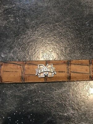 - Mens Michigan State Brown Leather Embossed Metal accent Belt Size 36