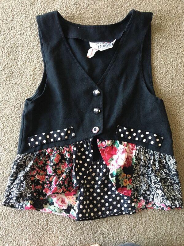 Vintage Girls 1980's Vest Floral Ruffle Polka-dot Black La Belle Small S 1990