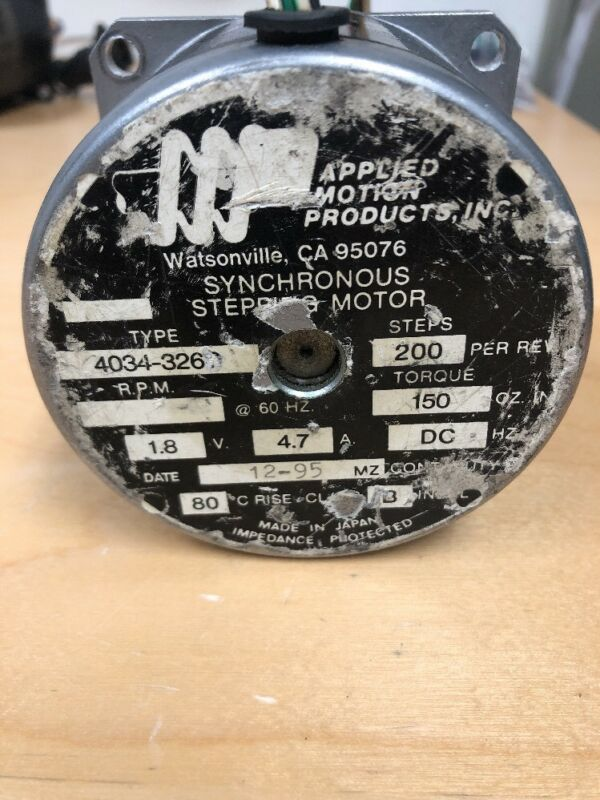 **USED**  APPLIED MOTION PRODUCTS SYNCHRONOUS STEPPING MOTOR, 4034-326