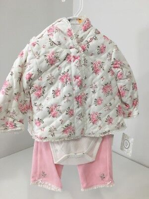 Girls 12 Month LITTLE ME 3 Piece Set Heirloom Rose Pink /floral Multi NWT $52