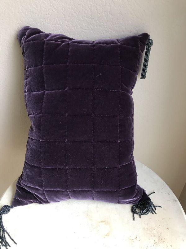 "Tyed Thru Tyme Toss Down Pillow Velvet Purple Rectangular 16.5"" X 12.5"" EUC"