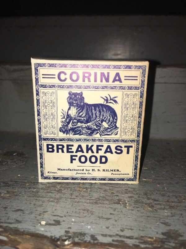 1920s CORINA BREAKFAST FOOD  DISPLAY BOX KILMER PA JUNIATA COUNTY TIGER 10 CENT