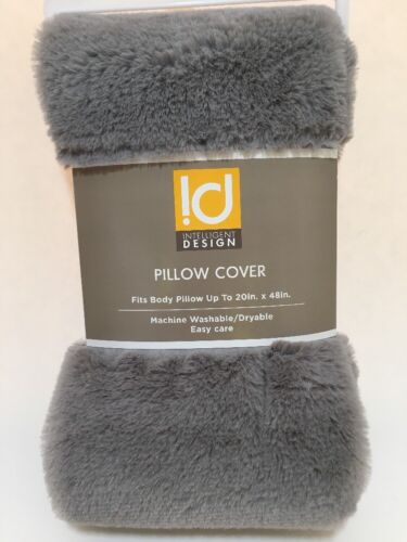 """Intelligent Design Body Pillow Cover 20"""" X 48"""" Gray Faux"""