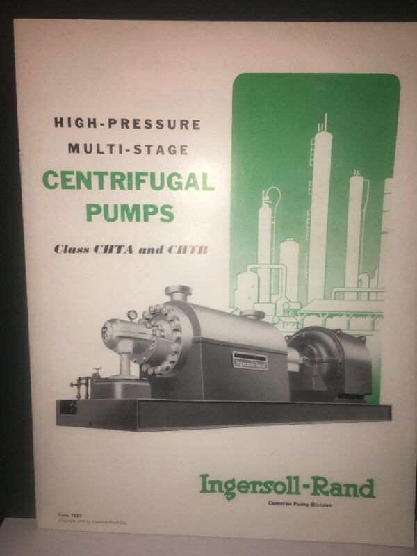 Ingersoll Rand High-Pressure Multi Stage Centrifugal Pumps Brochure.