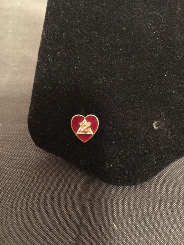 Vintage 10K Gold Order Of Moose Enamel Heart Screw Pin