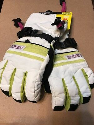 SCOTT YOUTH Girl's White/Apple  Gloves - new - size Medium