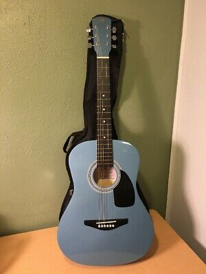 Small Guitar (SX SG15 Junior 3/4 Size SMALL TRAVEL Blue Acoustic Folk Guitar with Soft)