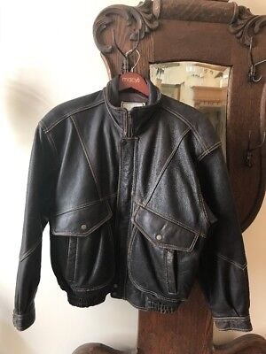 Men's BODY EQUIP Brown HEAVY  DISTRESSED Leather STITCH BOMBER MOTO Jacket -M