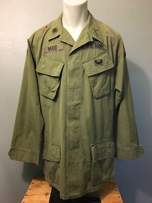 Vtg 60s Vietnam Ripstop Jungle Shirt Army Airborne Ranger Mens M Green Patched