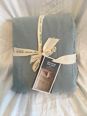 West Elm Linen Cotton Duvet King Blue And Gray