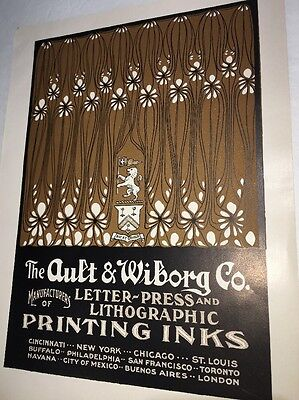 Ault Wiborg Litho Printing INK Poster Sign Original C1900  Funky Art Curtains?
