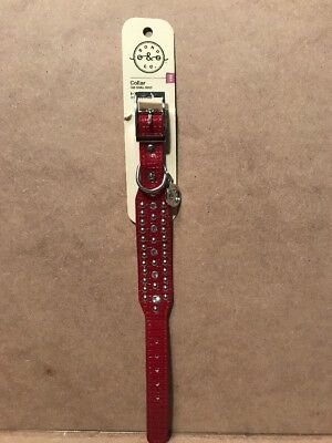 "Bond & Co. Dog Collar Red with studs And Bling Size XXS adjustable 8-10"" New"