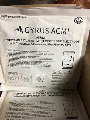 25 X Gyrus Acmi Adult Disposable Dual Element Dispersive Electrode Ref 310270