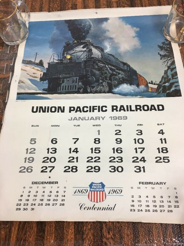 1969 Union Pacific Railroad Centennial Calendar ~ Howard Fogg 24 x 19 office