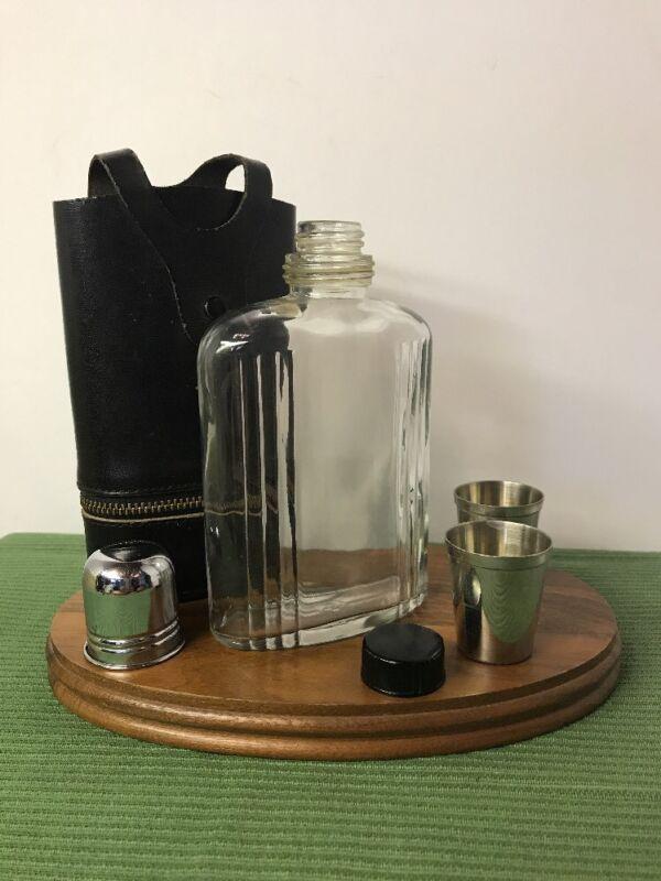 "Vintage DOPP ""Mellow Touch"" Top Grain Cowhide Glass Flask Silver Shot Glass 8oz"