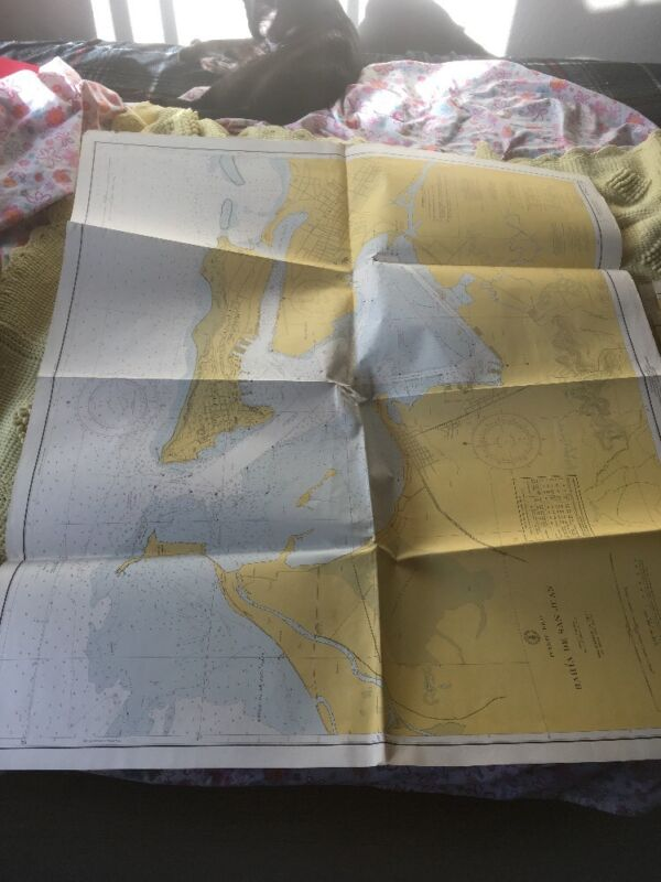 Vtg Nautical Chart C&GS 908: Bahia De San Juan, 24th ed 11/8/65 rev. 9/12/66