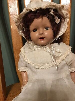 Antique Cloth Composition Baby Doll Sleep Eyes Teeth Toy Vintage Cry Box Clothes