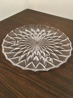 Large Vintage Mid-Century Pressed Glass Serving Tray Platter with Legs