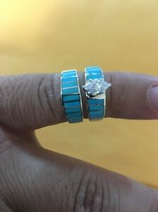 native american womens navajo turquoise wedding band set ring size 9 stunnin 3 - Turquoise Wedding Rings