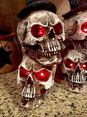 Halloween Light Up Led Skull Flickering Candle Centerpiece Window Display Wreath