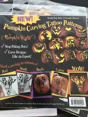12 Piece Pumpkin Carving Tattoo Patters Party Pack Family Halloween  (Pumpkin Tattoos)