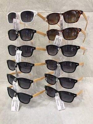 CW7150 Retro Vintage Sunglasses With Bamboo Print Leg Wholesale 12 (Wholesale Vintage Sunglasses)