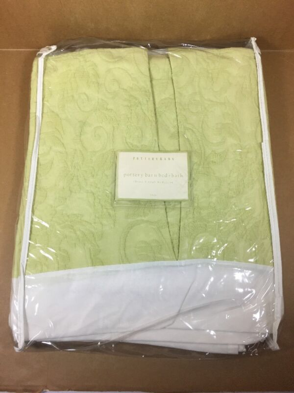 """Pottery Barn - TWIN - 14"""" Bed Skirt - Chloe Floral Bedskirt -Color Key Lime?"""
