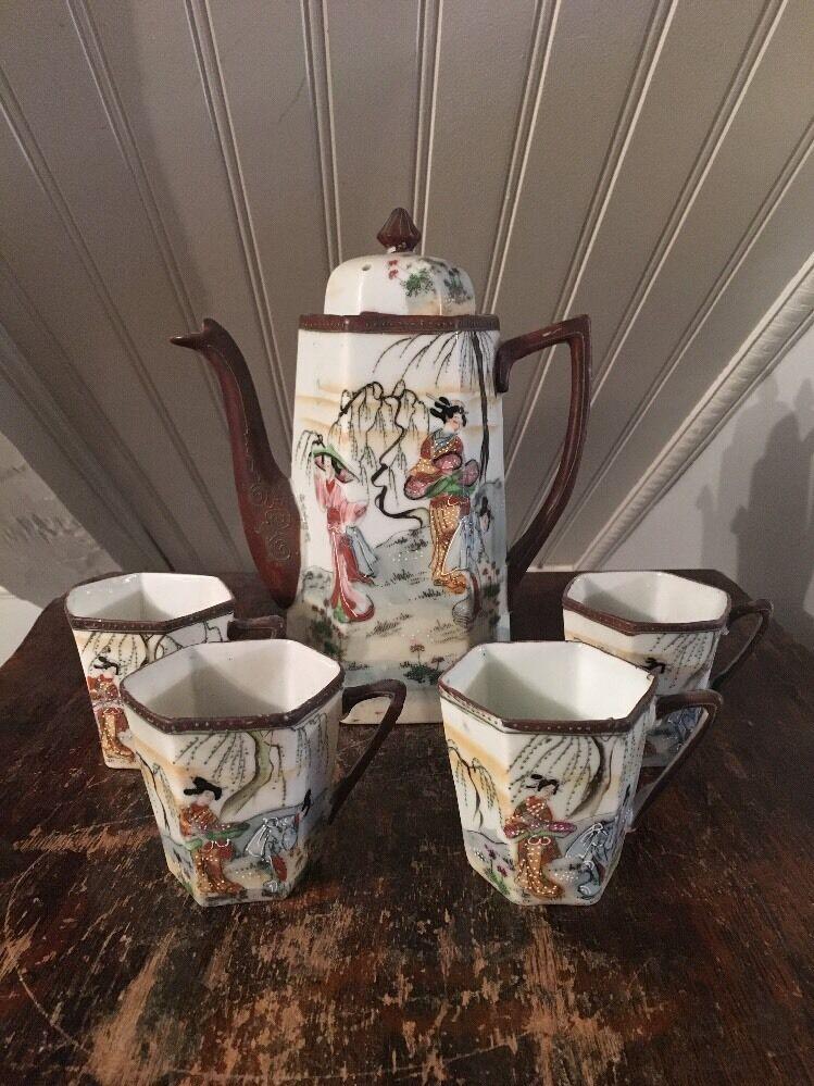 Antique Japanese Vtg Porcelain Tea Set Enameled Design Of Ladies Pot 4 Cups - $25.00