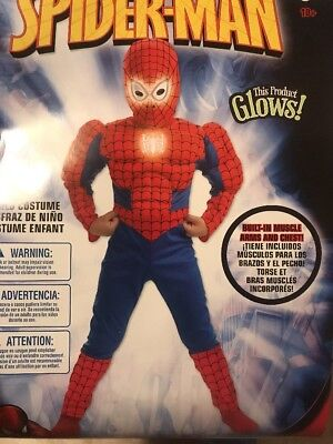 Spider-Man Glows Costume Boy HUSKY (10.5-12.5) Will Ship Priority Mail