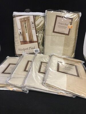 """(Bed Bath And Beyond Westpoint Plaid Lined Rod Curtains 53""""x84"""" W/ Valance WS18)"""