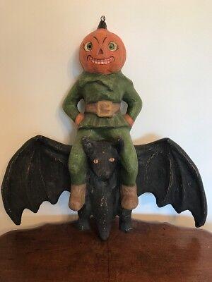 Bethany Lowe Halloween Large Pumpkin Head on a Bat—Retired!
