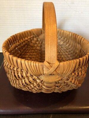 "Vintage Hand Woven Buttocks Egg Gathering Basket 9""Tall - Tall Baskets"