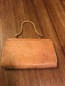 Vintage Industria Argentina Beige Ostrich Leather-Lined Evening Handbag Purse