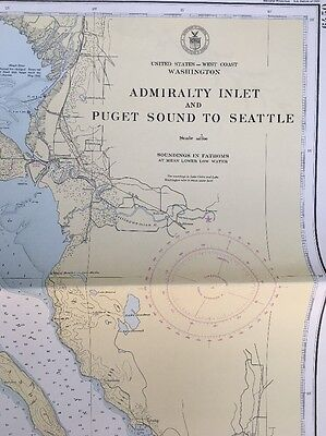 Admiralty Inlet (1945 U.S. Coast Geodetic Survey Map Admiralty Inlet & Puget Sound to Seattle WA)