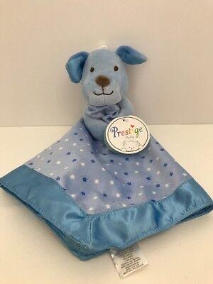 Prestige Baby Blue Puppy Dog Holding Security Blanket Lovey White Star Satin NWT