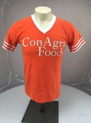 Vtg Conagra Foods Packaging Company Advertising Vneck Tshirt Orange White Small