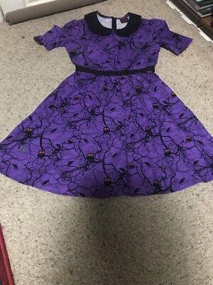 50s Style FOLTER Rockabilly Purple Halloween Spooky Owl Tree Fit Flare Dress Sm](Rockabilly Halloween)