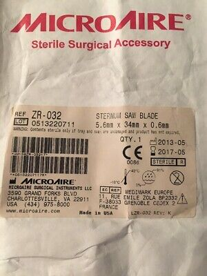 Microaire Surgical Instruments Sternum Saw Blade Refzr-032 Outdated