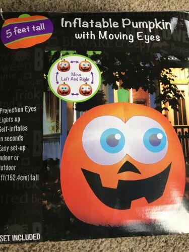 5 Ft Halloween Airblown Inflatable Pumpkin Jack-o-lantern Moving Eyes Animated