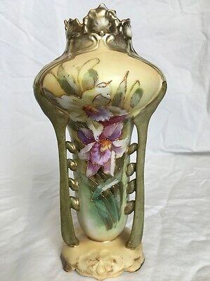 RARE Antique Art Deco Art Nouveau Porcelain Vase Hand Painted Floral